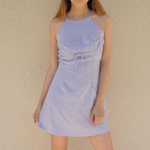90s Purple Gingham Halter Mini Dress